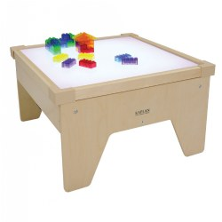 "2 years & up. Freestanding table with built-in electrical lights invites children to explore color mixing, light, and shadows. Adult supervision. (Prism bricks and plates sold separately.) Minor assembly required. Measures 15""H x 25 1/2""W x 25 1/2""D."