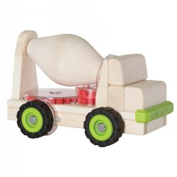 "3 years & up. Building upon the multi-faceted early childhood development benefits of unit block play, this solid beech wood truck is designed to overlay a lesson on how a simple machine works. This large cement truck carries a cement mixer which is connected to the wheels of the truck by five different gears. When the truck is moved, the cement mixer turns, teaching children to recognize and investigate the mechanics of using gears. Use Unit Blocks (sold separately) along with this Block Science Big Truck to teach simple machine and STEM concepts while encouraging construction, deconstruction, teamwork, social interaction and self-expression. Measures 15.25""H x 5.5""D x 9""L."