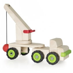 "3 years & up. Building upon the multi-faceted early childhood development benefits of unit block play, this sturdy wooden truck is designed to overlay a lesson on how a simple machine works. This large wooden truck has a removable articulating trailer with a large wooden crane for maximum mobility. Children can use the wrecking ball to knock down structures. Use Unit Blocks (sold separately) along with this Block Science Big Truck to teach simple machine and STEM concepts while encouraging construction, deconstruction, teamwork, social interaction and self-expression. Measures 18""H x 5.5""D x 16.75""L."