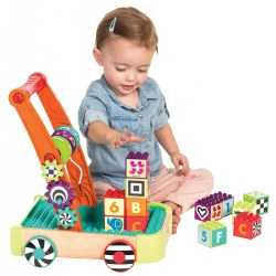 "12 months & up. This push-along activity walker is designed to keep your toddler busy with so many fun activities to do! The wagon includes 12 building blocks containing a letter, a number, and a new word with pictures. The blocks can be stacked and stored in the connecting connector block base which is compatible with other interlocking building block brands. Other activities include oversized sliding beads and colorful spinning gears which are ideal for building hand-eye coordination. The walker has a sturdy wooden base, durable plastic wheels, and features soft corners for safety. Measures 11.75""W x 5""L x 14.75""H."
