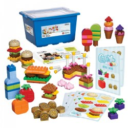 3 - 6 years. Stimulate children to play and collaborate as they construct various food items and learn to sort, count, match, and pattern. The unique and colorful bricks, as well as menu and recipe cards, inspire language and role play around restaurants, shopping, and people's needs. Children will naturally be practicing basic math as they play with this engaging set. Storage box included. 131 pieces.