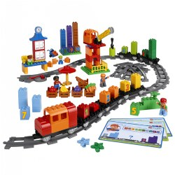 2 - 5 years. Discover counting, patterns and simple addition and subtraction with a fun and imaginative set that also teaches the purpose of stations and trains. Children will role play exciting transportation scenarios as they use the crane to load and unload colorful train cargo and construct stations along a delivery route that they create! 167 pieces.