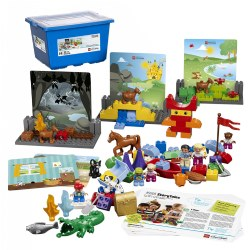 3 - 6 years. Promote creativity, imaginative storytelling and language development with this unique and engaging storytelling set. Children will naturally collaborate and develop speaking and listening skills as they build their stories and role-play. Anyone can tell a story with StoryTales! Storage box included. 109 pieces.