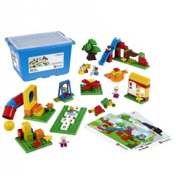 2 - 5 years. Deepen children's understanding of relationships as they construct a familiar place where they can explore the concepts of friendship, feelings, and community. The set encourages creative play and imaginative storytelling as it inspires children to role play around important and practical ideas like sharing equipment, conflict resolution, and playground safety. Storage box included. 104 pieces.