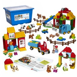 2 - 5 years. What's life like on a farm? With the Large Farm Set, you can explore together! The set invites children to construct and role play in this exciting world as they build their collaborative and language skills. They can even work on early math skills by sorting and categorizing the animals. Storage box included. 154 pieces.