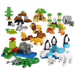 2 - 5 years. Invite children to explore the world through animals and animal families and habitats. As children construct a home and setting for each animal, they will learn about what animals need to survive and how they are different from one another. You can even introduce early math through sorting and categorizing activities. The possibilities are endless! 104 pieces.