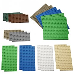 4 years & up. This set features 22 building plates in three different sizes and a variety of colors. Use as foundation for your LEGO® creation, to create landscapes, or for constructing tall buildings. Use blue to represent the sea, green for grass, beige for sand, grey for concrete, and brown for soil. 22 pieces.