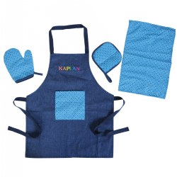2 - 5 years. Order up! Children will feel like a world-class cook while serving favorite recipes to their friends. A sturdy denim apron has a handy, colorfully designed front pocket and a hook-and-loop tie that attaches at the side for easy access. A matching dish towel, oven mitt, and pot holder complete the set. Machine washable.