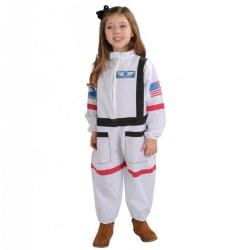 3 - 5 years. 3... 2... 1... Blast off! Do you fancy a trip to the Moon, or maybe Mars is your destination? Suit up in an astronaut jumpsuit that is fashioned after official space wear. A front zipper and hook-and-loop closures allow children to practice dressing and undressing, promoting independence. Machine washable.