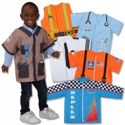 3 - 5 years. What do you want to be when you grow up? This set of 6 pretend play career shirts includes an astronaut, veterinarian, race car driver, construction worker, zoo keeper, and pilot. Each shirt is designed with fun graphics, representing each of the careers. The 100% polyester shirts open in the front and have easy hook-and-loop fasteners. Perfect for the dramatic play center! Machine washable.