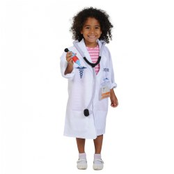 3 years & up. Dress up and inspire the new generation of doctors! Start with a crisp white lab coat, along with clip-on ID badge and plush stethoscope, and you have everything you need to jump-start your imagination. The lab coat opens in the front with hook-and-loop closures.  Machine wash cold separately, do not tumble dry; do not bleach.