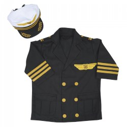 3 years & up.  Whether it?s in a large jetliner or a small single-engine airplane, imagine all the places you could go with an airplane and pilot's license. Start by looking the part of a pilot with a dress-up set that includes a professional looking pilot's jacket with gold-colored accents and matching pilot's cap. The jacket opens in the front with hook-and-loop closures. Machine wash cold separately, do not tumble dry; do not bleach.
