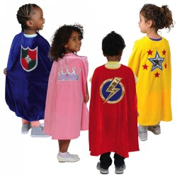 3 - 5 years. Add imagination and a cape to discover what wonderful adventures and stories children will create. Each of these velvet-like capes has a unique, stylized crest to inspire adventures in the past, present, and future. Perfect for the dramatic play center! Children will love participating in imaginative play with these capes. Machine washable.