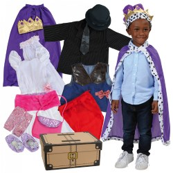 3 - 5 years. There are plenty of choices for all kinds of dress-up play. This fanciful dramatic play set of dress-up clothes features a cardboard trunk, ready to be decorated, and 19 pretend and play items. They include ties, bouquet, veil, shoes, gloves, wedding dress, jacket, vest, children's capes, and more. From getting ready for a wedding to a cowboy round up, children only need to add their imaginations. Plenty of dramatic play ideas for the dramatic play center in your classroom! Machine washable.