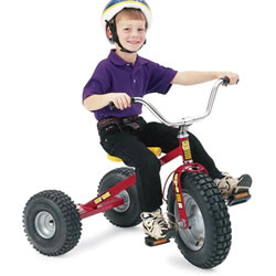 "3 - 8 years. This all-terrain trike is durable and rugged with wide sturdy tires and adjustable seat. Seat adjusts from 10"" to 19 1/2""."