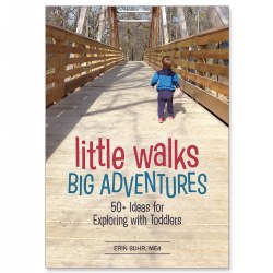 While most activity books encourage indoor explorations, countless adventures and learning opportunities await outside! Going for a walk or exploring the local community can bring about much more than just exercise. Little Walks, Big Adventures helps you teach your toddler about his/her surroundings through fun and adventurous local explorations, outdoor games and activities that promote and enhance learning. Parents and caregivers will help their toddlers enhance their vocabulary, language skills, cognitive skills, motor skills, and more! 160 pages.