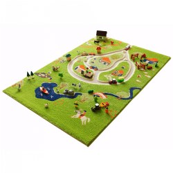 "A 3 dimensional carpet featuring a mix of soft carpet and smooth roads will get little imaginations buzzing with the unique raised detailing. The 3D quality provides a beautiful, tactile range of textures and a feast of fun keeping children enthralled for hours, simply add your favorite toys and play! Made of 100% polypropylene,rug is hypo-allergenic, anti-static, stain resistant and made using non-toxic dyes and fabric. Stays flat without any bumps.The pile height varies between 1"" to 1 1/2"" inches due to the raised areas. The roads are 2 3/4"" wide. Rug measures 3.25' x 5'. Stain resistant, easy to clean. Toys are not included."