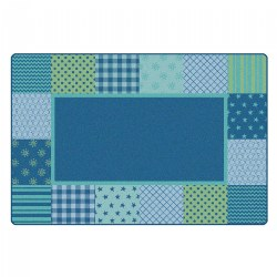 Pattern Blocks Carpet Blue - 6' x 9' - Factory Second