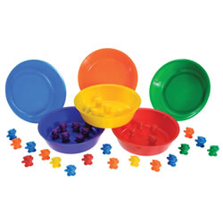 "3 years & up. Bears introduce matching, math skills, color recognition, and logical thinking skills. 6 bowls and 102 teddy bears included. Bowls: 6"" diameter x 1"" deep."