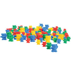 "3 years & up. Make counting and matching colors more fun with plastic bears in 3 sizes and 4 colors. 1-1 1/2"" tall. 80 bears: 20 papas, 20 mamas, and 40 babies."