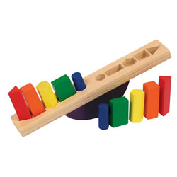 1 year & up. Stack the shapes on opposite ends of the see-saw to create a balanced platform. Shapes fit snugly in routed holes. Promotes color and shape recognition, balancing, color-matching, and sequencing. Sturdy wooden construction with rounded corners and smooth edges. Safe non-toxic paints with a clear finish.