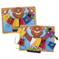 3 years & up. Getting dressed won't be such a puzzle once zipping, buckling, snapping, lacing and tying, and other dressing skills are mastered. Each skill is contained on a separate, wooden puzzle piece for easy practice. Develop fine motor and life skills with this great activity.