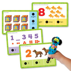 "4 years & up. 36 colorfully illustrated doubled-sided cards provide 72 early learning activities with numbers, counting, number words, and sequencing, plus answer key. A great way to get ready for school! Cards measure 4""H x 6""W. Hot Dots® Jr. Pen sold separately."