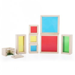 "3 years & up. What can we find today? Children can collect sensory objects, natural materials and trinkets to place in the beautiful Treasure Blocks. Smooth hardwood frames with inset, colored transparent acrylic windows have a removable panel to place small objects. Ideal for display, observation, color exploration, light table activities and more. Largest Block measures 5.5"" L x 5.5"" W x 2"" H. Set of 8."