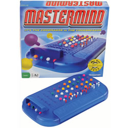 8 years & up. The classic game that brings together a codemaker and a codebreaker. Includes MASTERMIND® game console with built-in storage tray, 108 code pegs in 6 colors, 30 key pegs in 2 colors, and rules. For 2 players.
