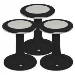 "18"" K'Motion Flexible Seating Ergonomic Stool - Black - Set of 3"