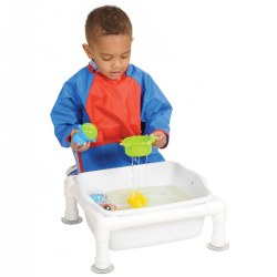 "Infants will delight in this tub! Sturdy plastic construction tub allows for safe and fun experiences, in the water or with sand.  Strong suction cups on the feet ensure worry-free play. 6.5""H x 15""W x 13""D. Tray is 6"" deep."