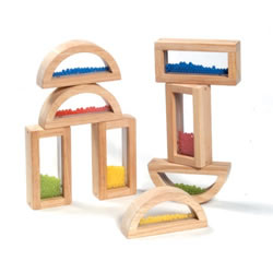 2 years & up. These wood-framed blocks add a new look to block play. Each set includes 4 square blocks and 4 half circle blocks with bead filled center. These bead blocks add a sound element to play.