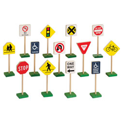 "Miniature Traffic Signs 7"" High 13 Piece Set"