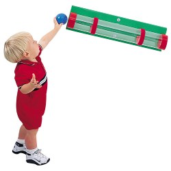 12 months & up. Perfect for observational discovery and tracking skills, plus size, shape, and color discrimination. Sharpens decision making abilities while children choose which objects will roll, topple or just won't fit through the clear plastic tube. Hardware and balls not included.