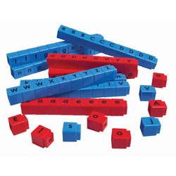 Grades K & up. 90 single-letter cubes (blue consonants and red vowels), with quantities based upon frequency of use. Lowercase on one side, uppercase on the other. Includes plastic storage jar and guide.