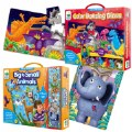 Main Image of Long & Tall Puzzle Set - Big to Small Animals and Dancing Dinos