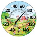"Marathon 12"" Indoor/Outdoor Dial Thermometer - Farm Scene"