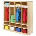 Alt Thumbnail #1 of Premium Solid Maple 4-Section Coat Locker