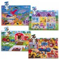 Wooden Floor Puzzles - Ocean, Dollhouse, Farm and Construction