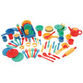 3 years & up. Get more children involved in dramatic play with this large assortment of colorful, break-resistant kitchen items for pretend cooking. This set includes items for baking, serving, and clean-up. 71 pieces.