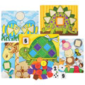 3 years & up. One, two, buttons for you! Practice number and shape recognition, counting, sequencing. Five double-sided wooden boards with ten whimsical designs provide insets for 10 number cards. Everyone will have fun matching the correct number cards and shapes for each board!