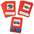 Grades 1 - 3. Set of 24 laminated cards with picture and color clues for children to build three-letter words with Unifix® Letter Cubes CVC Sets. Color illustrations of common objects and animals.
