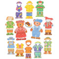 3 years & up. Large 8 3/4 inch wooden teddy bears with six complete outfits. The clothes are made of wood and represent the four seasons. Includes 6 tipped 42 inch laces for easy threading.