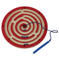 "3 years & up. A magical magnetic wand guides metal balls through fully enclosed maze. Develop skills in problem solving, eye-hand coordination, visual tracking, and logical thinking. 10"" diameter."