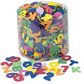 "One-half pound of bright, colorful WonderFoam letters and numbers in a clear plastic storage tub. Pieces are thick enough for easy use by small hands. Approximately 1"" tall. (Pieces are NOT magnetic)."