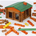 3 years & up. A classic wood toy with solid pine logs in red, yellow & natural; green roof planks & red gables. 250 pieces in heavy-duty canvas bag for storage. This set comes complete with instructions to build a log cabin, barnyard and tree house all at the same time!