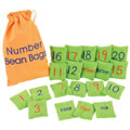 "PreK & up. Count on number fun with these sturdy, lightweight bean bags. Each 2 3/4"" x 2 3/4"" bean bag is embroidered with a number (1 to 20) on one side and its number word (one to twenty) on the other. Even numbers are embroidered in blue, and odd number are embroidered in red for easy identification. The bean bags come in a handy cloth storage bag with a Tip Sheet of beginning math activities for large and small groups, from number identification and counting to simple addition and subtraction."