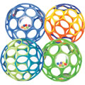 Birth & up. Four balls full of finger holes that are incredibly easy to catch, captivating to hold, and safe to throw. Shiny, smooth, flexible, durable and virtually indestructible. Contains two Oballs and two Oball™ rattles. Color selection may vary.