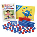 Grades K - 3. This set includes enough materials for activities with up to four students: 180 cubes (60 red vowel cubes and 120 blue consonant cubes), teacher notes, and a teacher's guide.