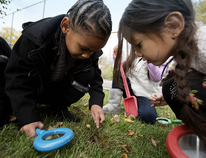Young Girls in outdoor STEM activity